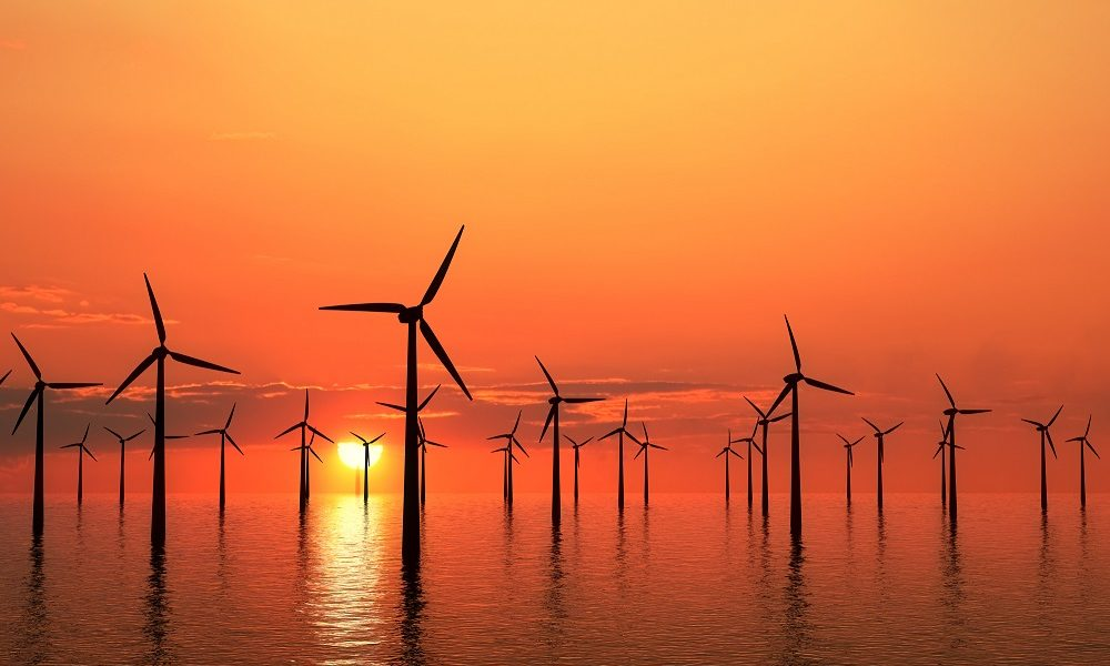 Offshore wind farm at sunset